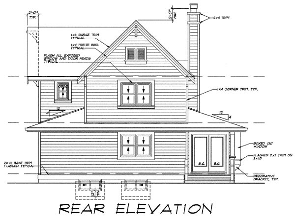 Farmhouse House Plan 55487 with 3 Beds, 3 Baths Rear Elevation