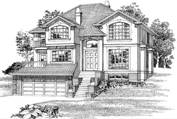 European House Plan 55493 Elevation
