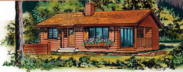 Narrow Lot, One-Story, Ranch House Plan 55495 with 2 Beds, 1 Baths Elevation