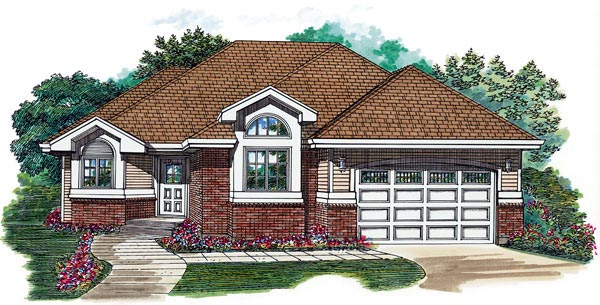 European House Plan 55498 Elevation