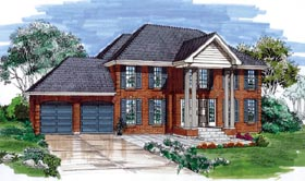Colonial House Plan 55499 Elevation