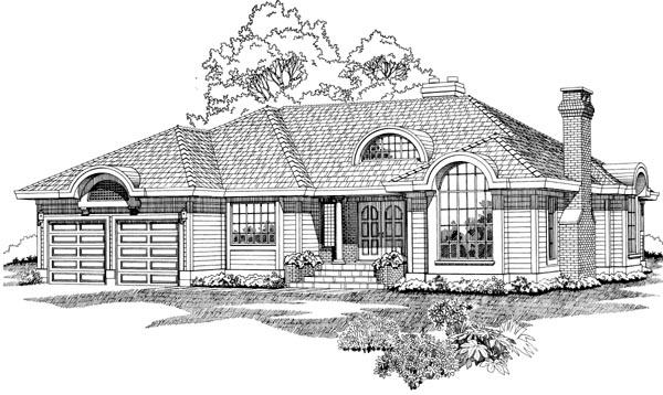 European House Plan 55500 Elevation