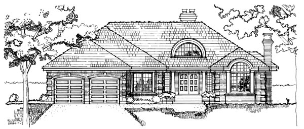 European House Plan 55500 Rear Elevation