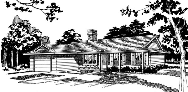 Ranch House Plan 55503 Elevation