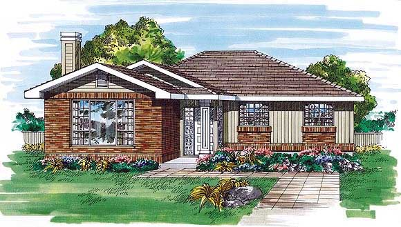 Ranch House Plan 55505 Elevation