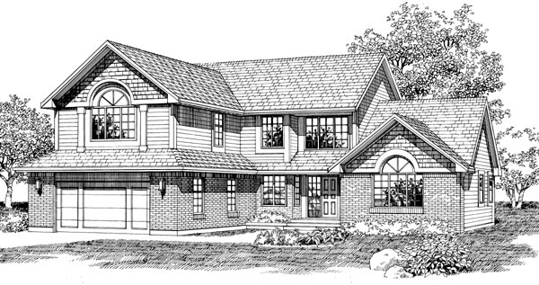 House Plan 55510 | Traditional Style Plan with 2583 Sq Ft, 3 Bedrooms, 3 Bathrooms, 2 Car Garage Elevation