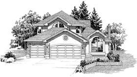 European House Plan 55512 with 3 Beds, 3 Baths, 3 Car Garage Elevation