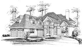 European House Plan 55513 with 3 Beds, 4 Baths, 3 Car Garage Elevation