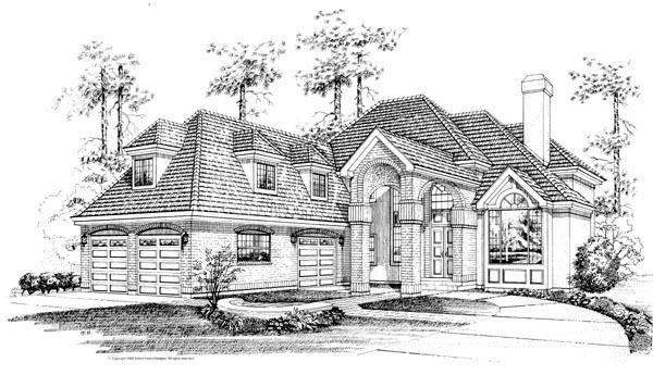 European House Plan 55513 Elevation
