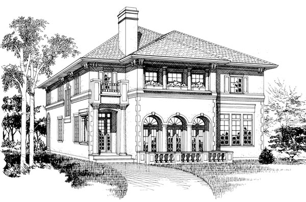 Mediterranean, Narrow Lot House Plan 55514 with 4 Beds, 5 Baths, 2 Car Garage Elevation