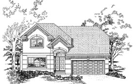 Traditional House Plan 55516 with 4 Beds, 3 Baths, 2 Car Garage Elevation