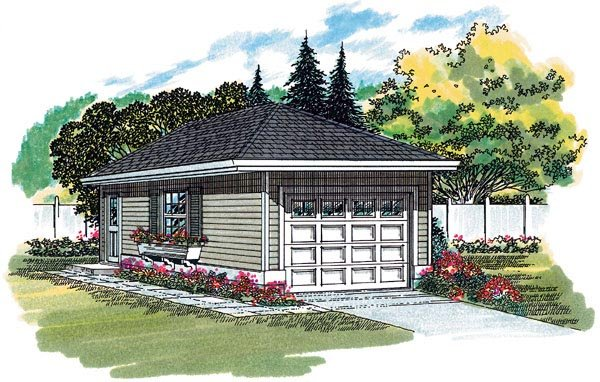 Traditional 1 Car Garage Plan 55520 Elevation