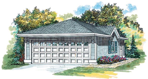 Traditional 2 Car Garage Plan 55522 Front Elevation