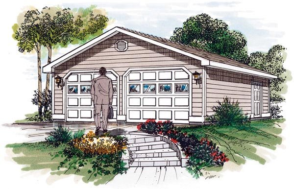 Garage Plan 55525 | Traditional Style Plan, 2 Car Garage Elevation