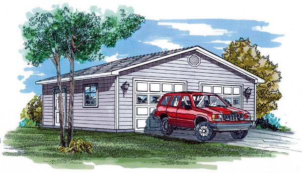 Traditional 2 Car Garage Plan 55527 Elevation