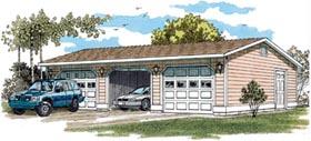 Garage Plan 55529 | Traditional Style Plan, 3 Car Garage Elevation