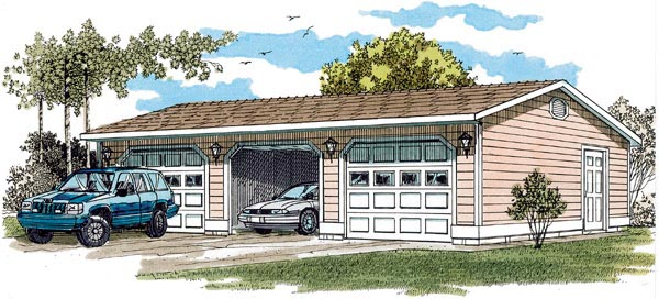Traditional Garage Plan 55529 Elevation