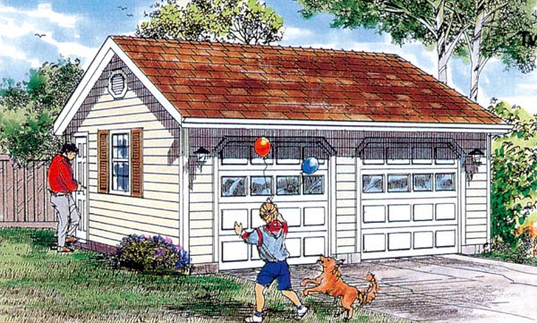 Traditional 2 Car Garage Plan 55532 Elevation