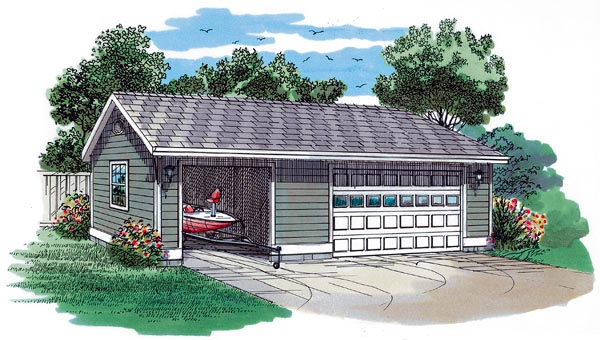 Traditional 3 Car Garage Plan 55533 Elevation
