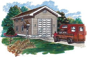 Traditional 1 Car Garage Plan 55534, RV Storage Elevation