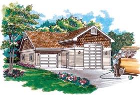 Garage Plan 55537 | Traditional Style Plan, 2 Car Garage Elevation