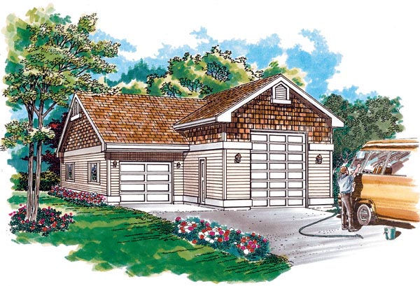 Traditional 2 Car Garage Plan 55537, RV Storage Elevation