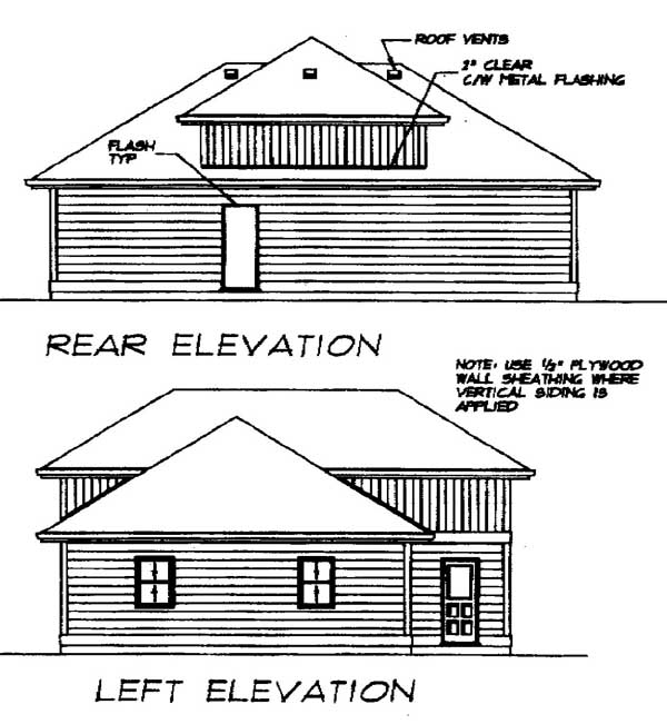 European Rear Elevation of Plan 55539