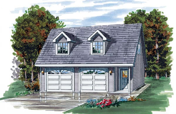 Cape Cod Style 2 Car Garage Plan 55541