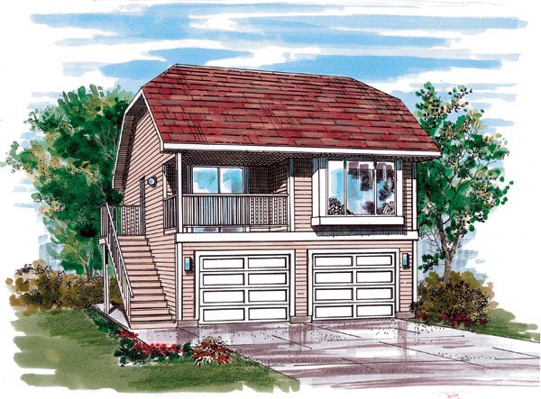 Garage Plan 55543 | Contemporary Style Plan with 484 Sq Ft, 1 Bedrooms, 1 Bathrooms, 2 Car Garage Elevation