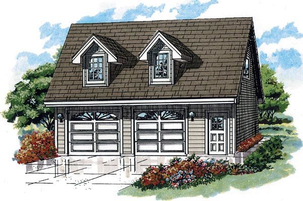 Cape Cod 2 Car Garage Apartment Plan 55546 with 1 Beds, 1 Baths Elevation