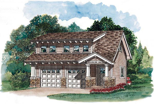 Craftsman 2 Car Garage Apartment Plan 55548 with 1 Beds , 2 Baths Elevation