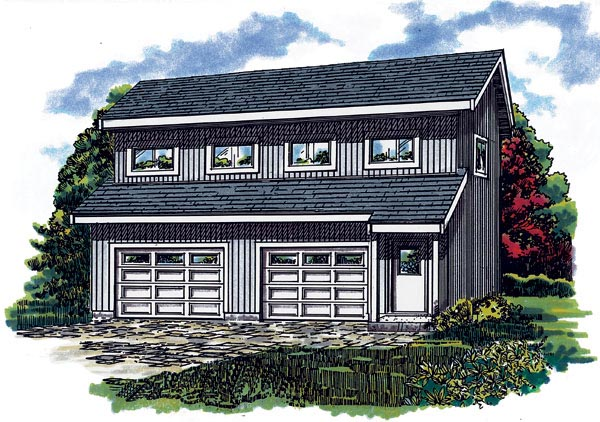 Contemporary 2 Car Garage Apartment Plan 55550 with 1 Beds, 1 Baths Front Elevation