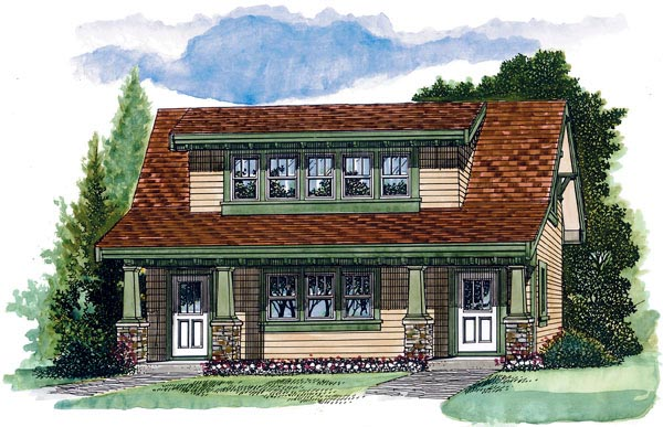Craftsman 2 Car Garage Apartment Plan 55553 with 1 Beds, 1 Baths Elevation