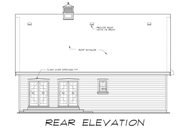 Tudor House Plan 55555 Rear Elevation