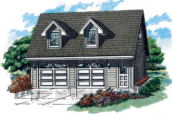 Country 2 Car Garage Plan 55556 Elevation