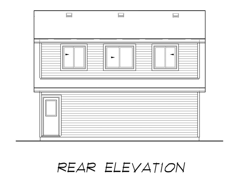 Country 2 Car Garage Plan 55556 Rear Elevation