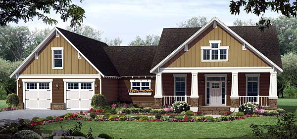 Cottage, Country, Craftsman, Southern House Plan 55601 with 3 Beds, 3 Baths, 2 Car Garage Elevation