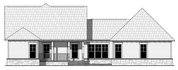 Cottage Country Craftsman Southern House Plan 55601 Rear Elevation