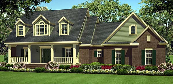 Country Farmhouse Southern Traditional House Plan 55602 Elevation