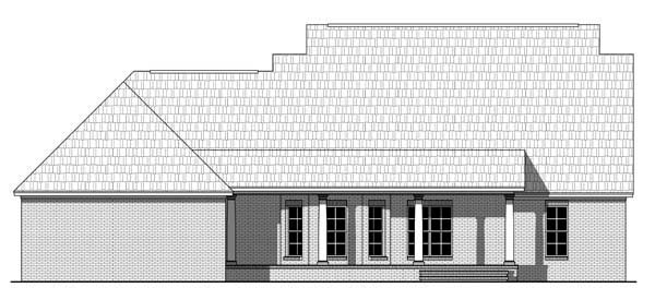 Country Farmhouse Southern Traditional House Plan 55602 Rear Elevation