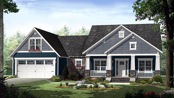 Cottage Country Craftsman House Plan 55603 Elevation