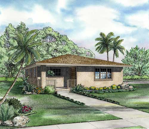 One-Story House Plan 55700 with 2 Beds, 1 Baths Elevation