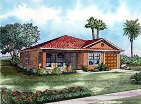House Plan 55702 | Style Plan with 1243 Sq Ft, 3 Bedrooms, 2 Bathrooms, 1 Car Garage Elevation