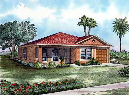 Narrow Lot, One-Story House Plan 55702 with 3 Beds, 2 Baths, 1 Car Garage Elevation