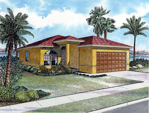 Narrow Lot, One-Story House Plan 55704 with 3 Beds, 2 Baths, 2 Car Garage Elevation