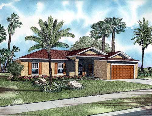 One-Story House Plan 55708 with 3 Beds, 2 Baths, 2 Car Garage Elevation