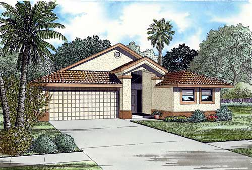 Narrow Lot, One-Story House Plan 55715 with 3 Beds, 2 Baths, 2 Car Garage Elevation