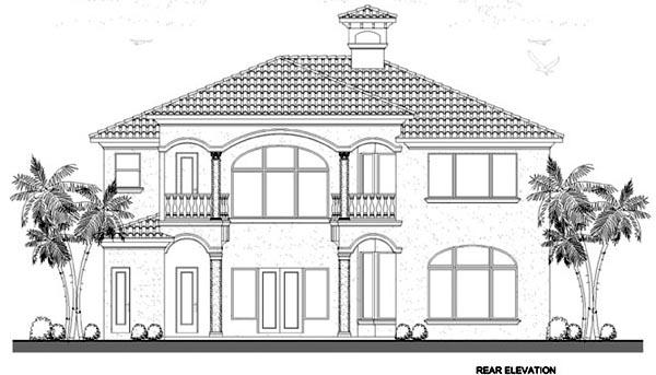 Mediterranean House Plan 55745 Rear Elevation