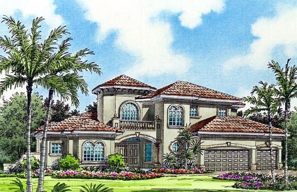 Florida House Plan 55749 with 5 Beds, 6 Baths, 3 Car Garage Elevation