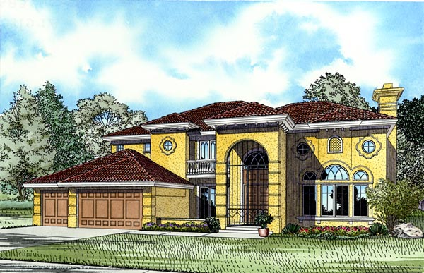 Mediterranean, House Plan 55773 with 4 Beds, 6 Baths, 3 Car Garage Elevation